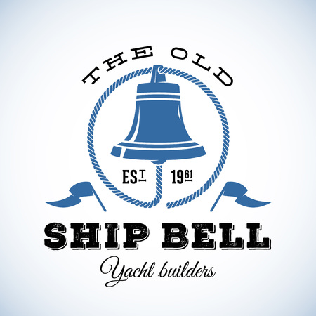 shipyard: The Old Ship Bell Yacht Builders Retro Style Vector Logo Template or Vintage Label. Isolated