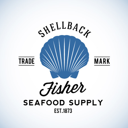 fisher: Shellback Fisher Seafood Supply Abstract Vector Retro  Template or Vintage Label with Typography. Isolated