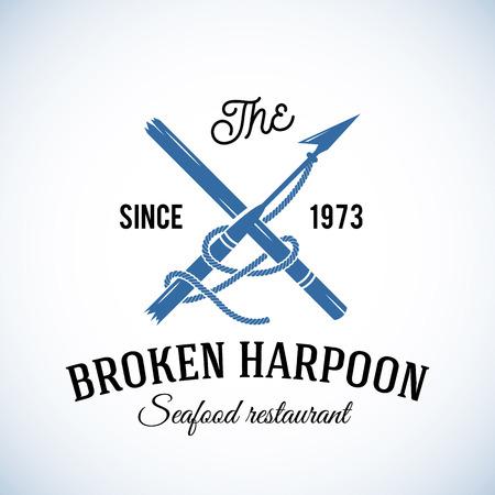 Broken Harpoon Seafood Restaurant Abstract Vector Retro Template of Vintage Etiket met Typografie. Geïsoleerd Stock Illustratie