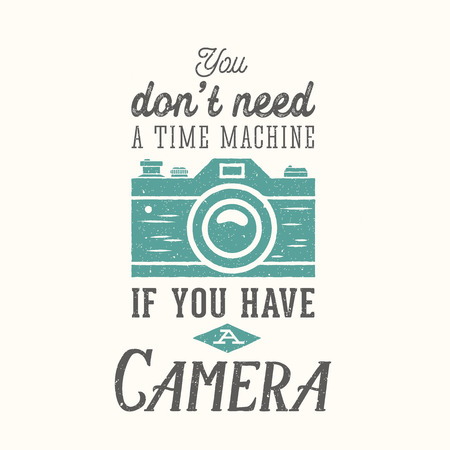Vintage Camera Fotografie Vector Quote, Label, kaart of een sjabloon met Retro Typografie en Textuur op aparte laag