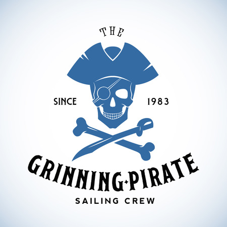 navy ship: The Grinning Pirate Sailing Crew Abstract Vector Retro Logo Template or Vintage Label with Typography. Isolated