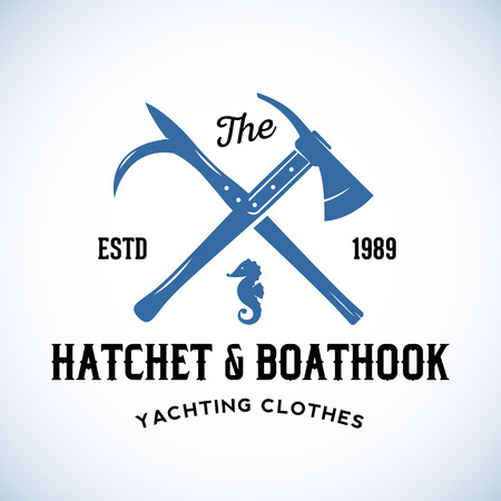 harpoon: Hatchet and Boathook Yachting Clothes Manufacture Abstract Vector Retro  Template or Vintage Label with Typography. Isolated
