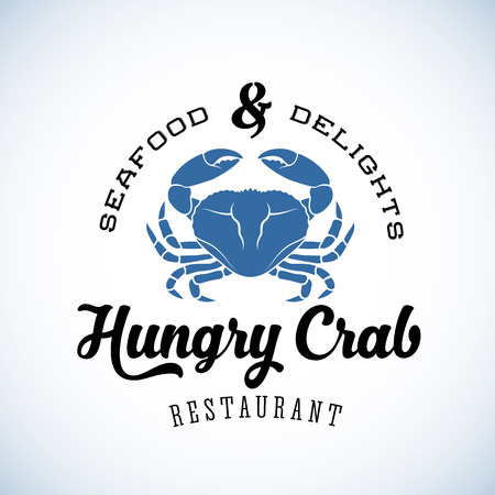 crab: Hungry Crab Restaurant Abstract Vector Retro  Template or Vintage Label with Typography. Isolated Illustration