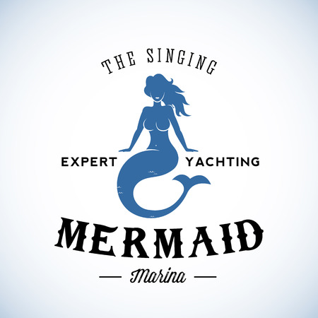 The Singing Mermaid  Abstract Vector Retro  Template or Vintage Label with Typography. Isolated 일러스트