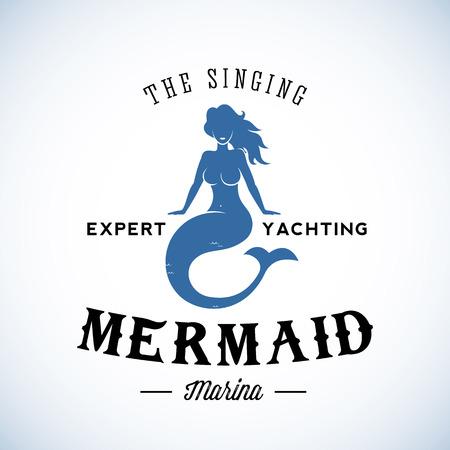 The Singing Mermaid Abstract Vector Retro Template of Vintage Etiket met Typografie. Geïsoleerd Stock Illustratie