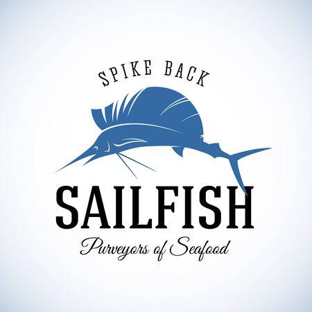 sailfish: Pico Volver Sailfish Marisco Purveyors Resumen Vector plantilla retro o vintage con etiqueta de la tipografía. Aislada Vectores