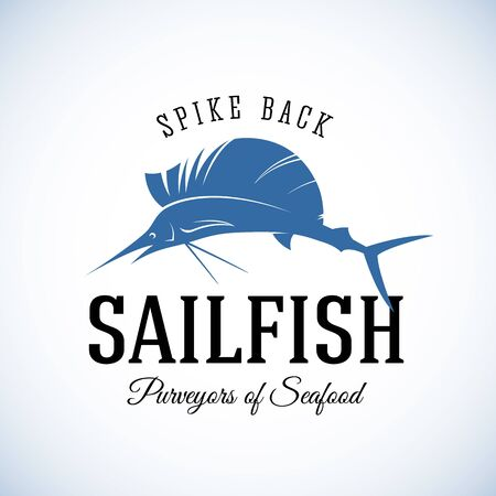 sailfish: Spike Torna Sailfish Frutti Purveyors Abstract Vector Retro Modello o Label Vintage con Tipografia. Isolato
