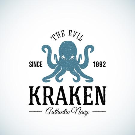 The Evil Kraken Authentic Navy Abstract Vector Template. Geweven. Geïsoleerd.