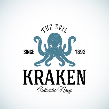 octopus: The Evil Kraken Authentic Navy Abstract Vector  Template. Textured. Isolated. Illustration