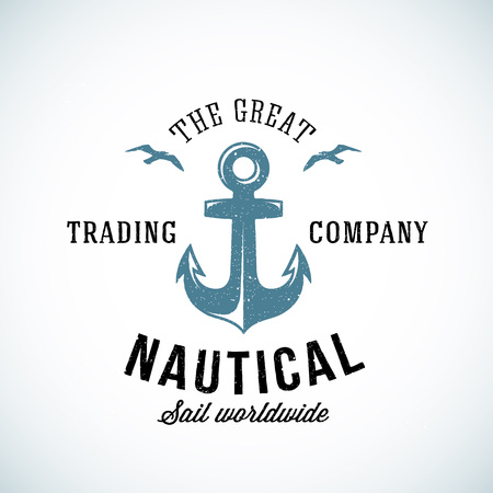Simple Anchor Retro  Template For Any Kind of Marine Business. Textured. Isolated.