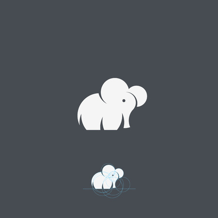 Tiny Elephant Abstract Vector Logo Template, Sign or Icon on Grey Background