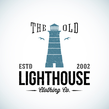 lighthouse: The Old Lighthouse Nautical Abstract Vector Retro Label or  Template with Typography. Good for Clothing and Other Business. Shabby Texture. Isolated.
