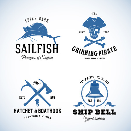 mermaid: Vintage Nautical Sea Vector  Labels with Retro Typography. Good for Seafood Restaurant, Cafe, Yachting, Sail Crew, etc. Isolated. Illustration