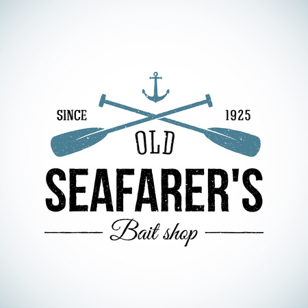 paddle: Old Seafarers Bait Shop Vintage Vector Template with Shabby Texture. Good for Fisherman Stores, On-line trade depot, etc. Isolated.