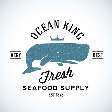 suppliers: Ocean King Seafood Supplyer Vintage Vector  Template with Shabby Texture. Good for Maritime Suppliers and Other Business. Isolated.