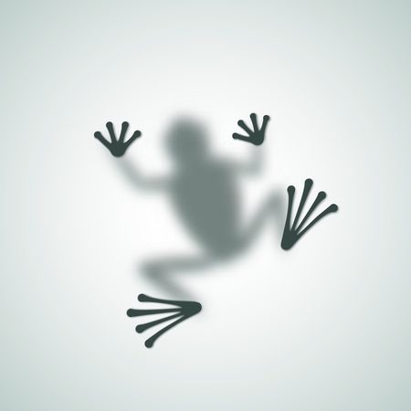 Diffuse Frog Silhouette Shadow Abstract Vector Image. Isolated. Vettoriali
