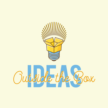 lightbulbs: Ideas Outside The Box Abstract Vector Concept Logo Template. Isolated. Illustration