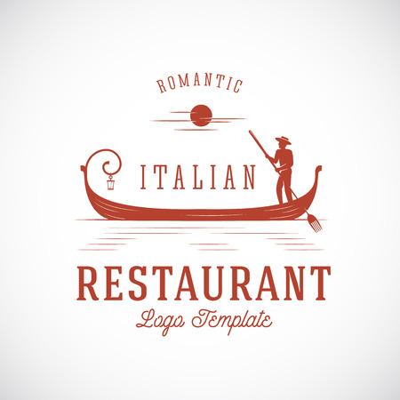gondolier: Italian Restaurant Abstract Vector Concept Logo Template. Isolated.