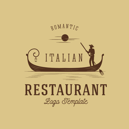 Italian Restaurant Abstract Vector Concept Logo Template 2. Isolated. 向量圖像