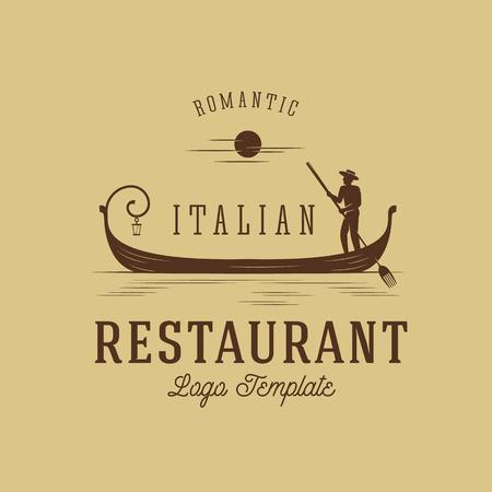 gondolier: Italian Restaurant Abstract Vector Concept Logo Template 2. Isolated. Illustration