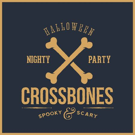 good: Abstract Vector Retro Halloween Card or Label. Cross Bones Illustration with Typography. Good for Posters, Flayers, Logos, etc. Blue Background.