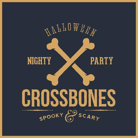 huesos: Resumen de vectores de tarjeta de Halloween retro o etiquetas. Cross Bones Ilustración con la tipografía. Bueno para Carteles, Flayers, logos, etc. Fondo azul.
