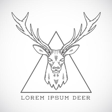 venado: Resumen l�nea vector Estilo ciervos Ilustraci�n Cara en tri�ngulo con la tipograf�a. Aislado. Vectores