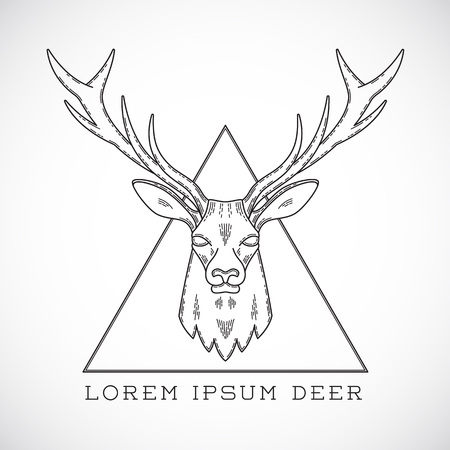 Abstract Vector Line Style Deer Face Illustration in Triangle with Typography. Isolated.