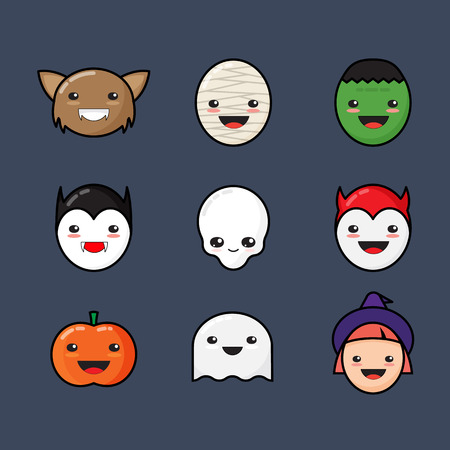Cute Kawaii Halloween Icons Set. Funny Monster Faces on Dark Background.