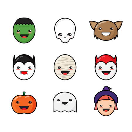 cartoon vampire: Cute Kawaii Halloween Icons Set. Funny Monster Faces. Isolated.