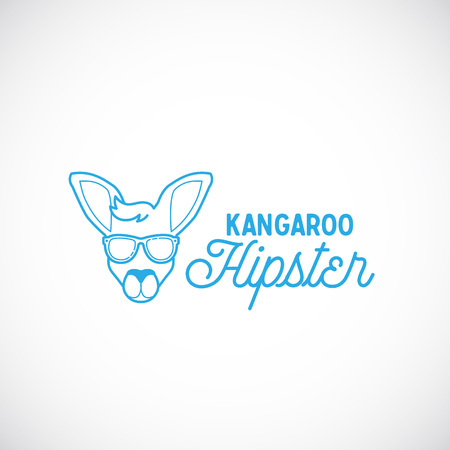 signs and symbols: Line Style Abstract Vector Kangaroo Hipster Face Logo Template. Isolated.