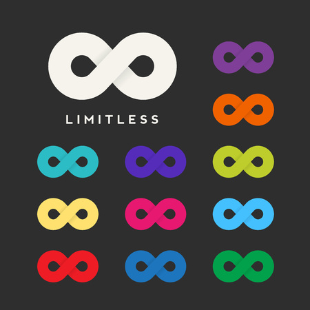 infinity sign: Abstract Vector Limitless Symbol, Icon or a Logo Template with Eleven Different Color Variations. Soft Realistic Shadows. Sign on a Dark Background. Illustration
