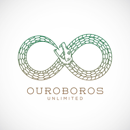 Abstract Vector Infinite Ouroboros Snake Symbol, Sign or a Logo Template in Line Style. Isolated. Vettoriali