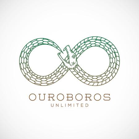 Abstract Vector Infinite Ouroboros Snake symbool, teken of een logo ontwerp in Lijnstijl. Geïsoleerd. Stock Illustratie