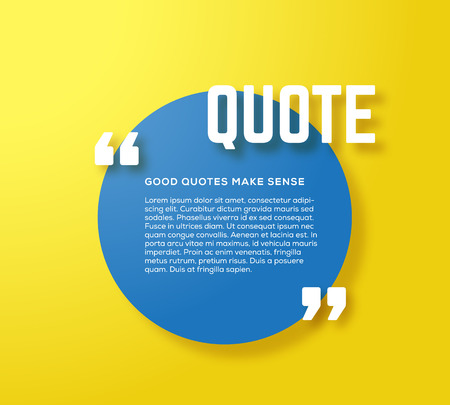 text box: Circle Motivation Quote Template Vector Yellow Background with Realistic Soft Shadows. Good for Inspiration Texts or Any Information. Possible Use as a Business Card Template.