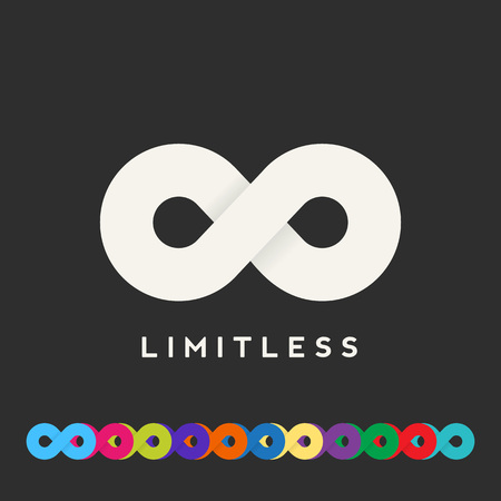 infinite symbol: Abstract Vector Limitless Symbol, Icon or a Logo Template. Lots of Different Color Variations. Soft Realistic Shadows. Sign on a Dark Background.