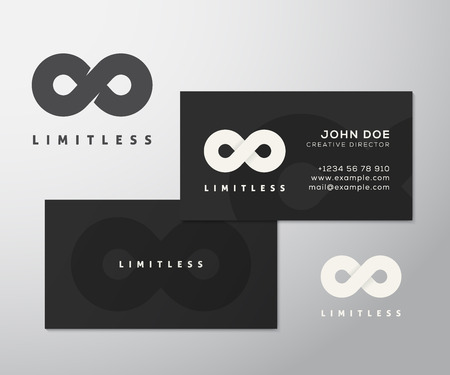 Abstract Vector Limitless Infinity Symbol, Icon or a Logo with Business Card Template Mock-up. Stilysh Black Background and Realistic Soft Shadows. Isolated.