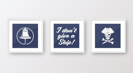 wall mounted: Realistic Vector Navy or Marine Picture Frames Set, Mounted on the White Wall Interior. With soft Shadows. Isolated.