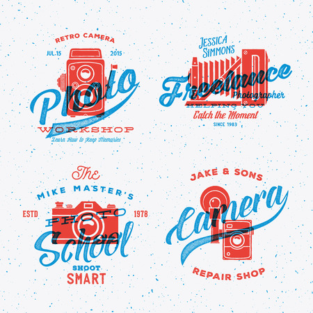 photography: Retro Camera Photography Vector Labels or Logos with Vintage Typography. Shabby Textures. Textured Background. Illustration