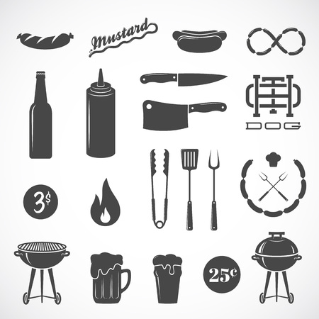 Sausage Vector Flat Icons and Design Elements Such as Grill, Knife, Fire, Beer, etc. Isolated.