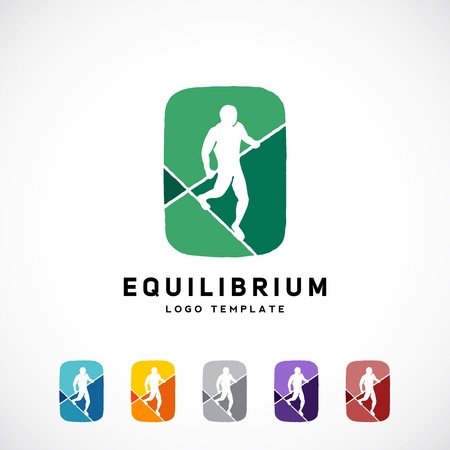 rope walker: Equilibrist or a Tightrope Walker Abstract Vector Sign, Logo Template, Label. Created Using Negative Space. Six Color Variations. Isolated. Illustration