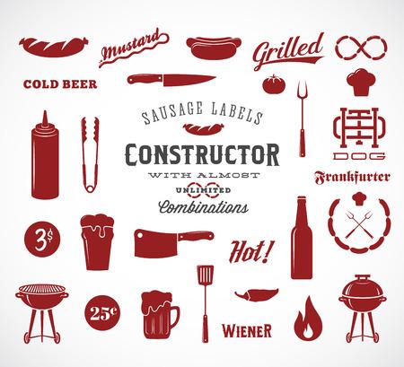 chorizos asados: Sausage vector planas Iconos y Dise�o de la tipograf�a elementos como la parrilla, cuchillos, fuego, cerveza, etc. Un Constructor para sus etiquetas, logotipos, ilustraciones, p�sters Flayers, Banners y as� sucesivamente. Aislados.
