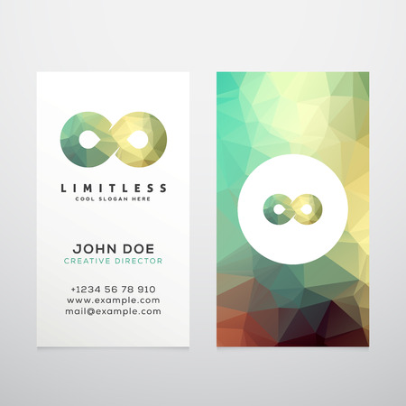 symbols: Abstract Vector Limitless Infinity Symbol, Icon or a Logo with Business Card Template Mock-up. Stilysh Low Poly Background and Realistic Soft Shadows. Isolated.