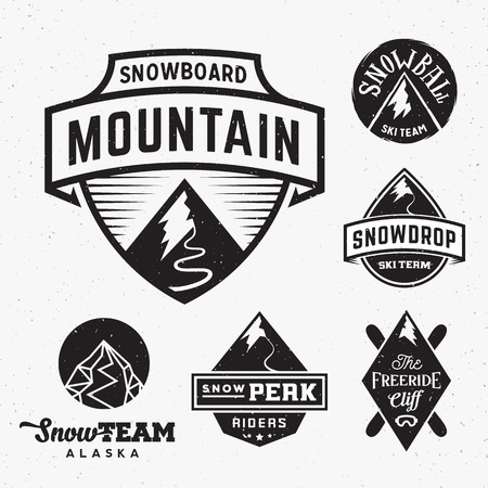 Set of Ski Snowboard Snow Mountains Sport Logos or Vintage Labels, with Shabby Texture. Isolated.