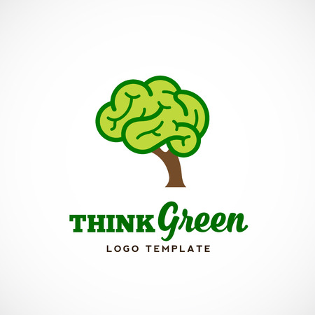 brain: Think Green Abstract Vector Eco Logo Template. Brain Tree Illustration with Typography. Isolated. Illustration