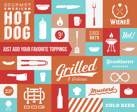 Hot Dog Vector Icon and Typography Set. Vintage Retro Signs or Labels with Design Elements. Sausages, Knife, Beer, Grill, etc.