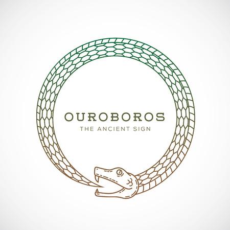 抽象的なベクトルのウロボロスの蛇のシンボル、記号または線のスタイルでロゴのテンプレート。分離されました。