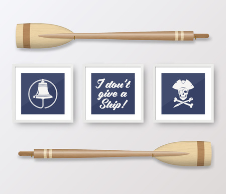 frame wall: Realistic Vector Navy or Marine Picture Frames Set, Mounted on the White Wall Interior with Wooden Paddles. Soft Shadows. Isolated. Illustration