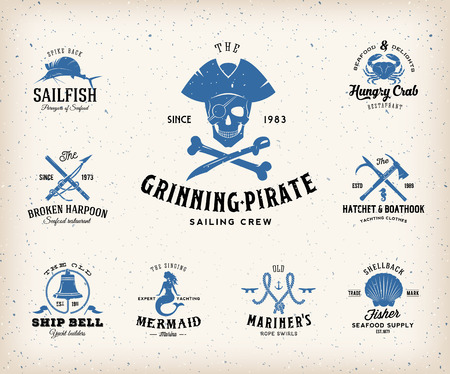 Vintage Nautical Labels or Design Elements With Retro Textures and Typography. Pirates, Harpoons, Knots, Seashells, Mermaid, Sailfish, Bells, etc. Fits Perfect for a T-shirt Design, Posters, Flayers, Logos so on. Isolated Vector Illustration. Vettoriali