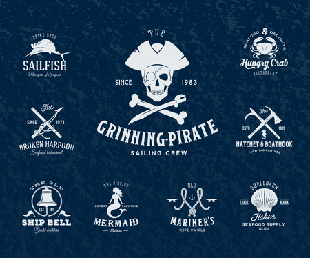 Vintage Nautical Labels or Design Elements With Retro Textures and Typography. Pirates, Harpoons, Knots, Seashells, Mermaid, Sailfish, Bells, etc. Fits Perfect for a T-shirt Design, Posters, Flayers, Logos so on. Isolated Vector Illustration. Иллюстрация